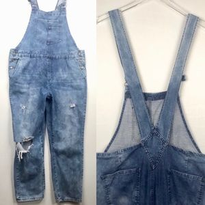 Distressed Denim Cropped Overalls 31